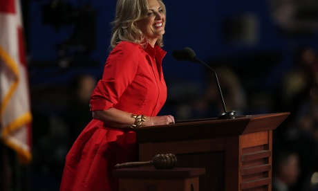 Ann Romney wife of Republican presidential candidate, Mitt Romney speaks on stage during the RNC.