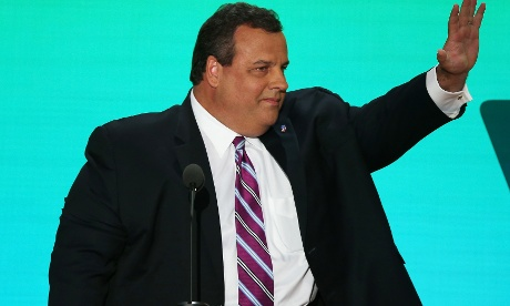 New Jersey Governor Chris Christie takes the stage at the RNC in Tampa.