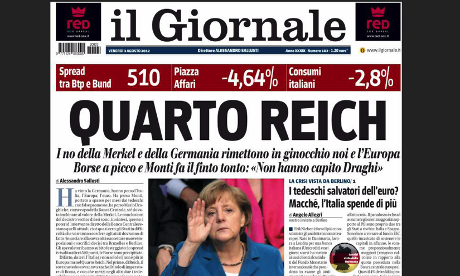 Il Giornale front page, 3 August 2012