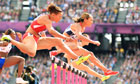 Jessica Ennis in the 100m heptathlon hurdles