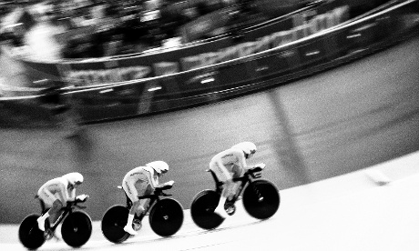 The Australian Women's 3000m team pursuit squad race in the qualifying session tonight at the Velodrome.