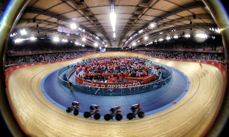 Team GB's Men's team pursuit squad on the way to winning their gold medal tonight at the Velodrome.