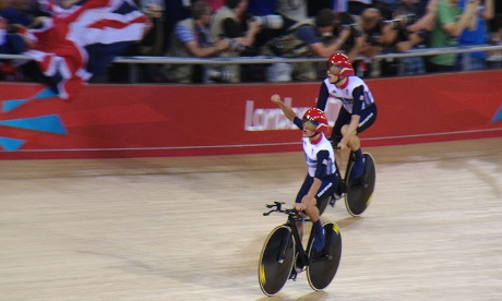 Team GB's Men's team pursuit squad celebrate winning their gold medal tonight at the Velodrome.