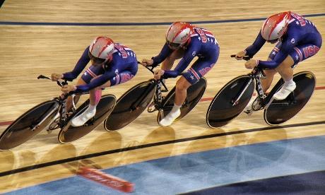 The US Women's team pursuit squad during qualifying.