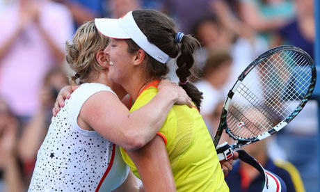 Kim Clijsters congratulates Laura Robson and says goodbye to the game
