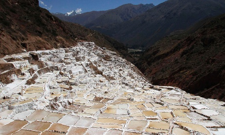 Pools of salt are seen at the Maras mines in Peru. The Maras mines have been a source of salt since ancient pre-Incan civilizations, and currently comprise of approximately 3,000 small pools constructed on the slope of a mountain at the Urubamba Valley in the Andean region of Cuzco.