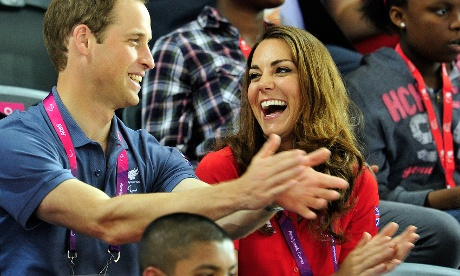 William and Catherine enjoy the cycling action at the Velodrome on the opening day of the London 2012 Paralympic Games this morning.