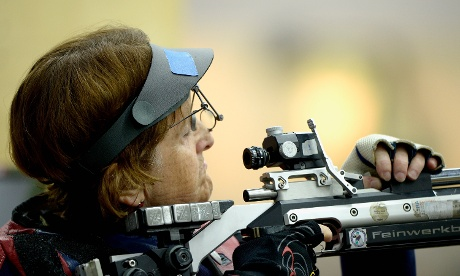 Meanwhile Deanna Coates of Team GB competes in the women's R2-10m air rifle standing SH1 qualification round at The Royal Artillery Barracks.