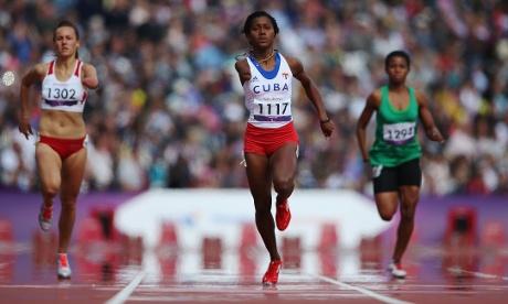 Yunidis Castillo of Cuba sails through her heat in the Women's 200m T46 class.