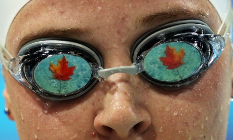 Visually impaired swimmer, Amber Thomas of Canada competes in the Women's 100m Freestyle  at the Aquatics Centre.