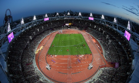 A spectacular aerial view of the Olympic Stadium on the eve of today's crucial day for Jessica Ennis