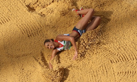 Jessica Ennis of Great Britain competes in the Women's Heptathlon Long Jump
