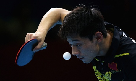 Zhang Jike of China during his Table Tennis Gold medal match against Wang Hao of China