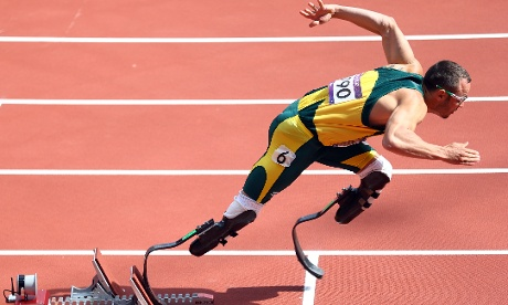 Oscar Pistorius of South Africa leaps to his start in the Men's 400m