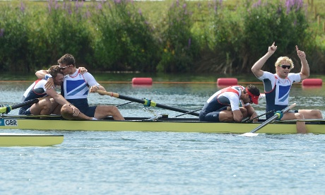 Alex Gregory, Pete Reed, Tom James and Andrew Triggs Hodge of Great Britain celebrate winning the gold medal in the men's four rowing final