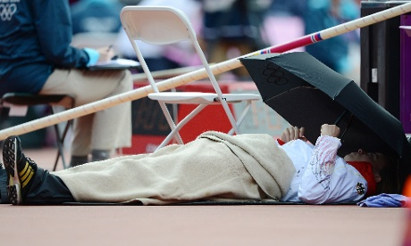 Silke Spiegelburg of Germany rests before the women's pole vault qualifications