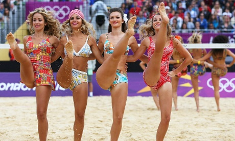 Cheerleaders entertain the crowd between the Beach Volleyball matches at Horse Guards Parade