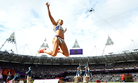 Britain's Jessica Ennis moves ever closer to a Gold in the women's heptathlon long jump qualifications