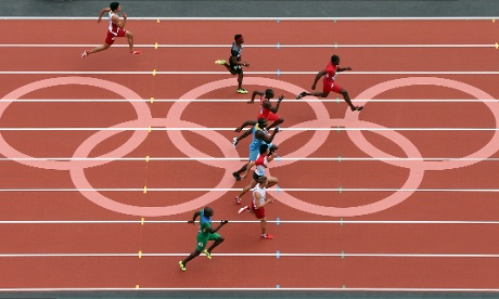 Justin Gatlin of the United States wins the Men's 100m Round 1 Heats.
