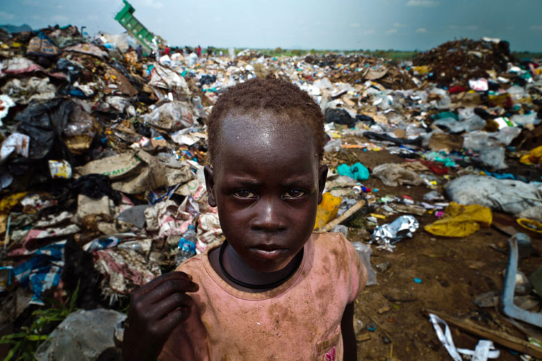 A young boy at a rubbish dump in Juba, South Sudan
