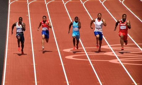 Great Britian's Dwain Chambers runs in the heats of the Men's 100m
