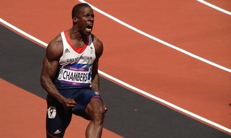 Great Britian's Dwain Chambers celebrates