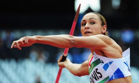 Britain's Jessica Ennis takes a throw in Heptathlon Javelin