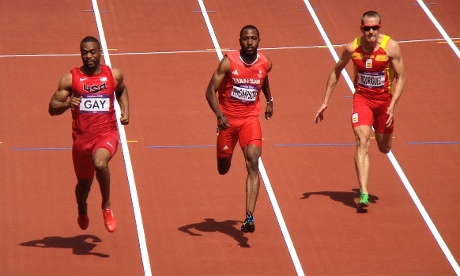Tyson Gay of the USA winning his heat in the Men's 100m