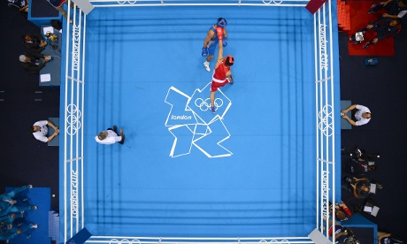A bird's eye view of the Olympic boxing ring