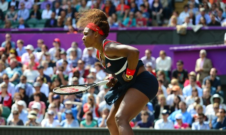 Serena Williams against Russia's Maria Sharapova during their women's singles gold medal match.