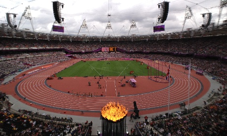 A wide angle view of the Olympic stadium during the heats of the Women's 3000m steeplechase