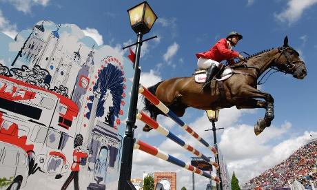 Rodrigo Carrasco of Chile rides Or de la Charbonniere in the equestrian individual show jumping