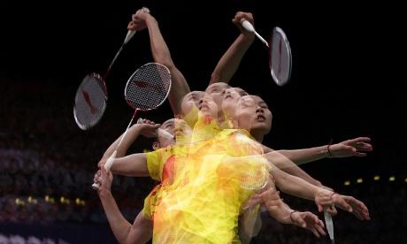 China's Wang Yihan V Li Xuerui during their women's singles badminton gold medal match.
