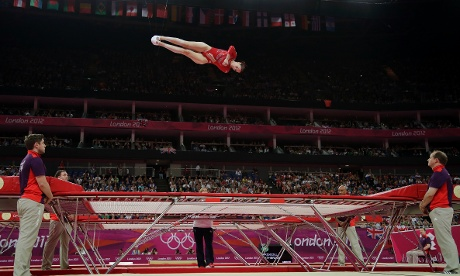 Britain's Katherine Driscoll performs during the qualifying round of the women's trampoline