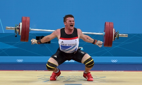 Great Britain's Peter Kirkbride in action during the Weightlifting Final. Photograph: Nick Potts