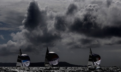 Weymouth Harbour as competition begins in the 470 Women's Class Sailing