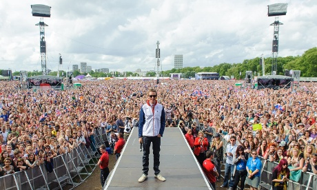 Bradley Wiggins is pictured onstage in Hyde Park.