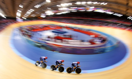 Dani King, Laura Trott, and Joanna Rowsell of Great Britain in action during Women's Team Pursuit