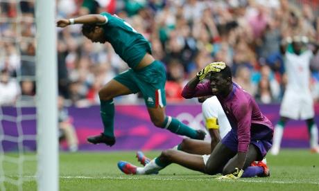 Mexico v Senegal quarter final football match Ousmane Mane reacts