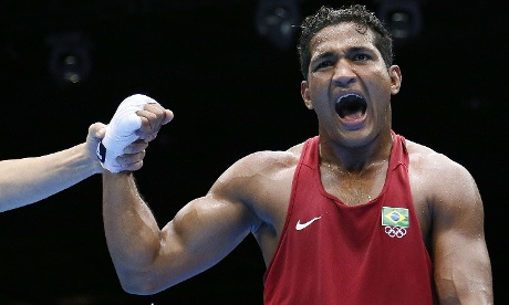 Yamaguchi Falcao Florentino of Brazil beats Fanlong Meng of China in Boxing