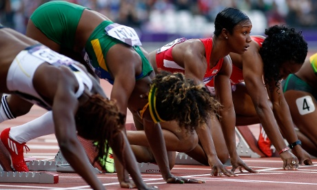 One last look down the track by Carmelita Jeter before she starts her Women's 100m Semi-Final