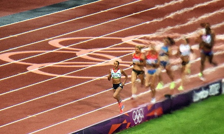 Jessica Ennis as she won gold in the Heptathlon