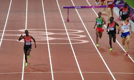 Ezekiel Kemboi was so far ahead in the steeplechase final that he celebrated way before the finish line.