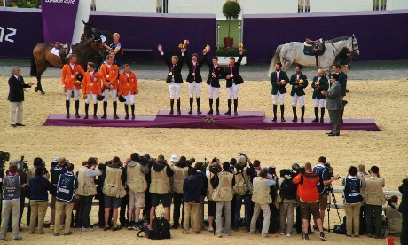 The medal ceremony at the showjumping. Photograph: Dan Chung/iPhone/Canon binoculars/Snapseed