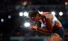 Yamilé Aldama competes in the women's triple jump final of the London 2012 Olympic Games