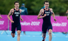Jonathan (left) and Alistair Brownlee compete in the London 2012 men's triathlon in Hyde Park