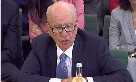 Rupert Murdoch giving evidence to MPs