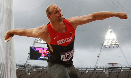 Robert Harting of Germany competes in the men's Discus Throw final at the London 2012 Olympic Games