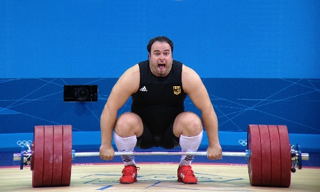 German weightlifter Almir Velagic giving it his all in the men's +105kg category