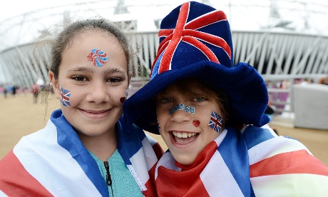Early arrivals at the Olympic park Francesca aged 11 and Cameron Overden aged 9 get ready for a day at the athletics at the Olympic Stadium. Photograph: Owen Humphreys/PA